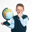 The boy with the globe — Stock Photo