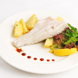 Steam pike perch with a garnish — Stock Photo #5947046