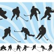 Hockey Silhouettes Set — Stock Vector