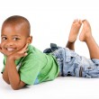 Adorable 3 year old black or African American boy with a big smile — Stock Photo