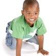 Adorable 3 year old black or African American boy with a smile — Stock Photo