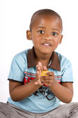 Adorable 3 year old black or African American boy — Stock Photo