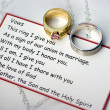 Wedding rings and vows - Stock Photo