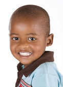 Adorable 3 year old black or african-american boy smiling — Stock Photo