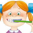Little girl cleans her teeth - Stock Photo