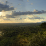 panorama incroyable coucher de soleil à sigiriya — Photo