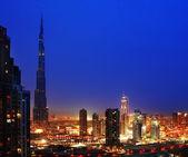 Dubai downtown at night — Stock Photo