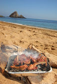 BBQ Ribs on the beach — Stock Photo