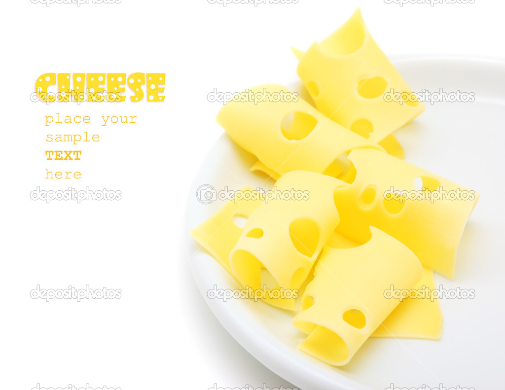 Tasty cheese slices on the plate, studio isolated food with text space — Stock Photo #5523569