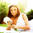 Happy bride on the grass — Stock Photo #5583801