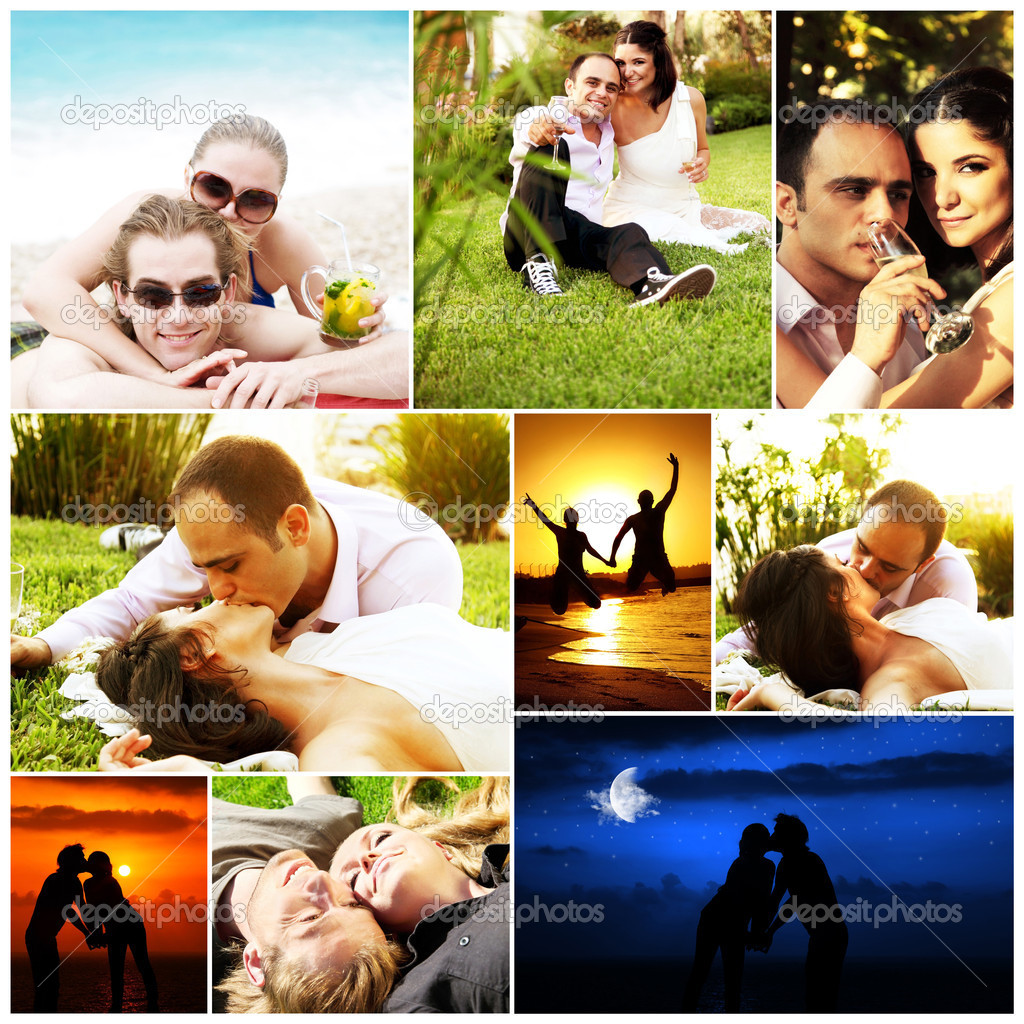 Love concept collage with various images of happy young couples — Stock Photo #5692879