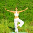 Yoga outdoor — Stock Photo