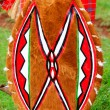 Traditional shield of Masai - Stock Photo