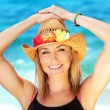 Happy female portrait on the beach - Stock Photo