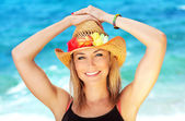 Happy female portrait on the beach — Stock Photo
