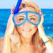 Funny girl portrait wearing mask - Stock Photo
