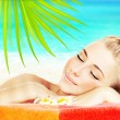 Enjoying spa beach resort — Stock Photo