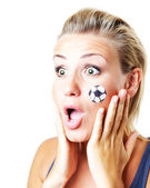 Surprised football fan — Stock Photo