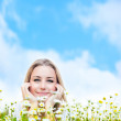 Happy young female over sky — Stock Photo