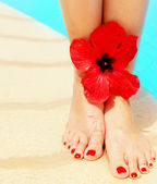 Beautiful female legs on the pool — Stock Photo