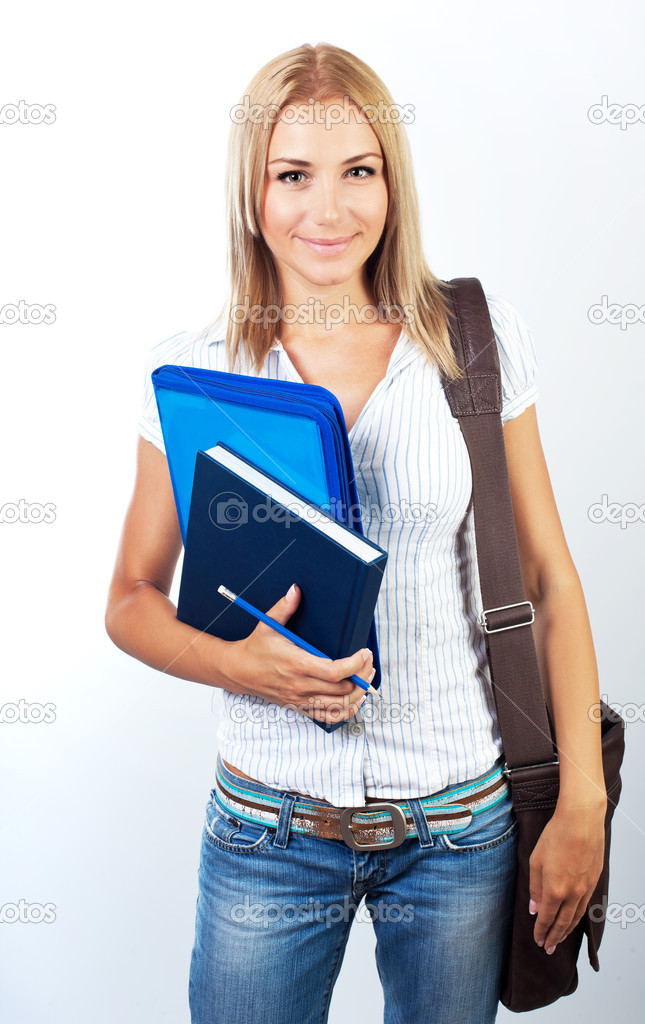 Happy female, young pretty teen student, girl holding books,  portrait — Stock Photo #6631338