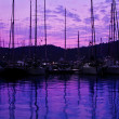Yacht port over purple sunset - Stock Photo