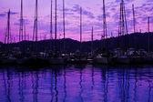 Yacht port over purple sunset — Stock Photo