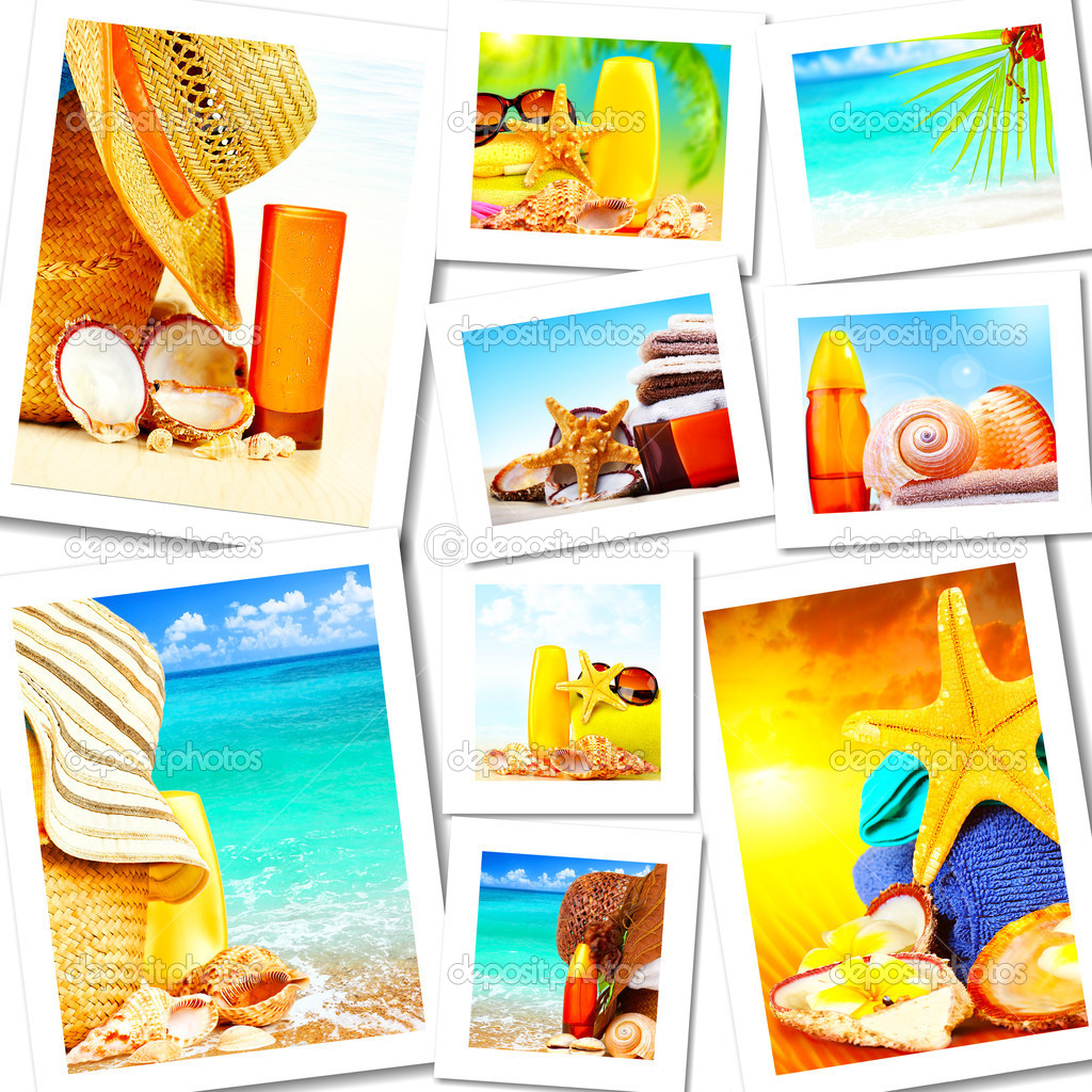 Summer fun concept collage, sunny colorful abstract background with many travel and tourism images — Stock Photo #6662527