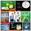 Back to school concept collage - Stock Photo