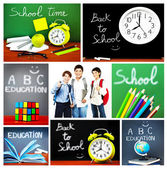 Back to school concept collage — Stock Photo
