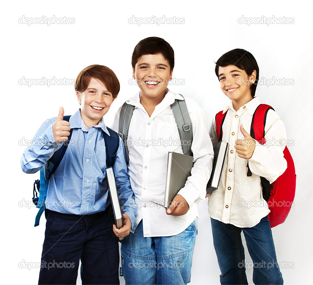 Happy schoolboys with thumbs up, back to school, boys holding books and smiling, isolated on white background, teenage education concept  — Stock Photo #6719741