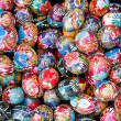 Made of wood and painted easter eggs — Stock Photo