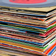 Stock Photo: Old vinyl records pile