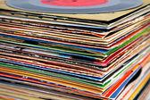 Old vinyl records pile — Stock Photo