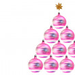 Foto Stock: Rotating christmas decorations tree