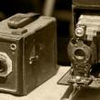 Two very old photo camera in sepia — Stock Photo #6268810