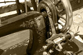 Detail of an ancient sewing machine manual in sepia — Stock Photo
