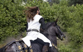 Medieval knight on his horse galloping — Stock Photo