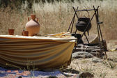 Medieval camp in the field — Stok fotoğraf