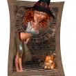 Trick or Track Halloween Witch — Stock Photo