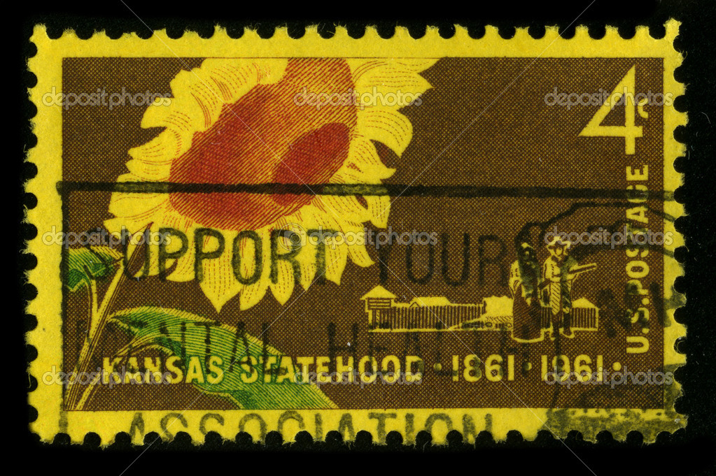 USA - CIRCA 1961: A stamp printed in USA shows image of the dedicated to the Kansas Statehood, circa 1961. — Stock Photo #5912817