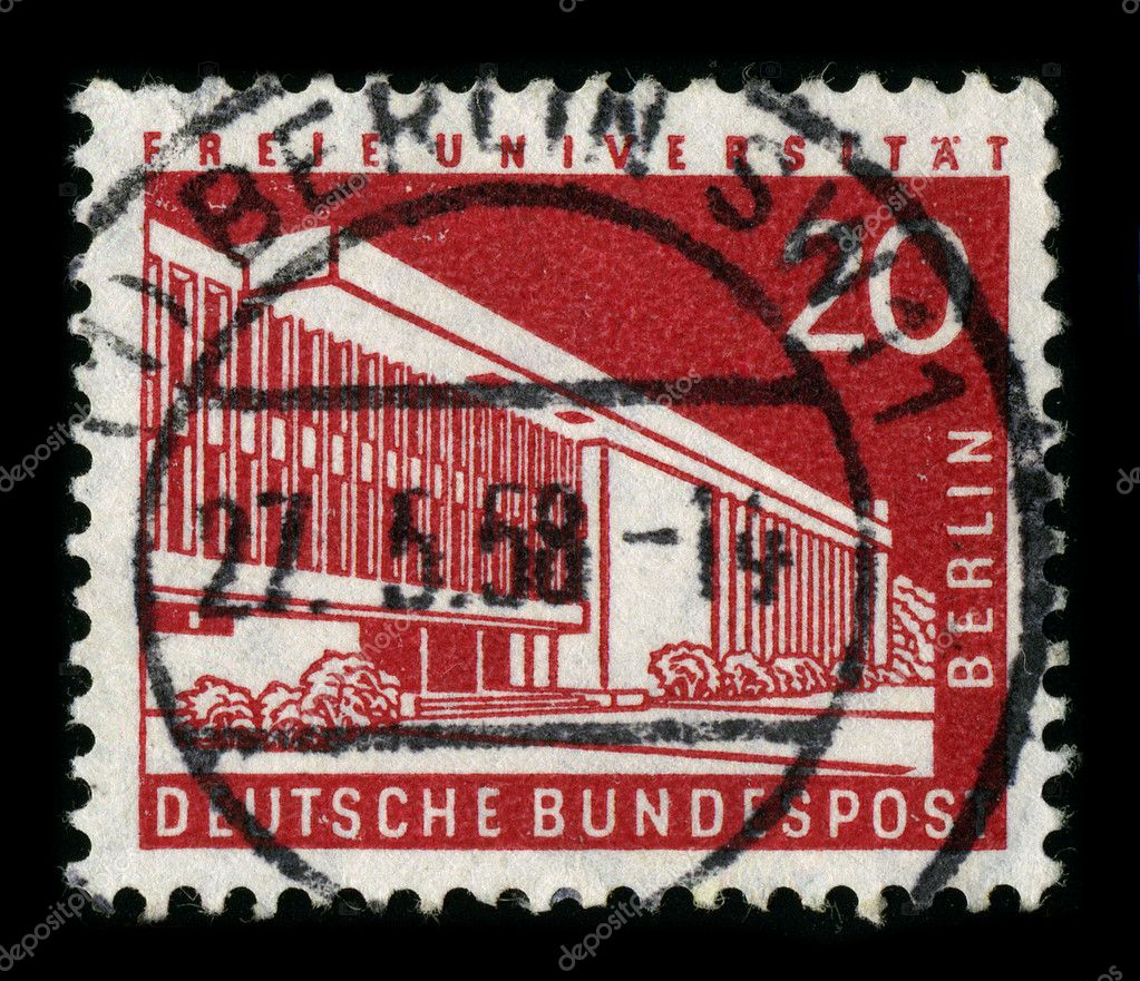 GERMANY-CIRCA 1958:A stamp printed in GERMANY shows image of the Freie Universitat Berlin is one of the leading research universities in Germany and distinguish — Stock Photo #5917796