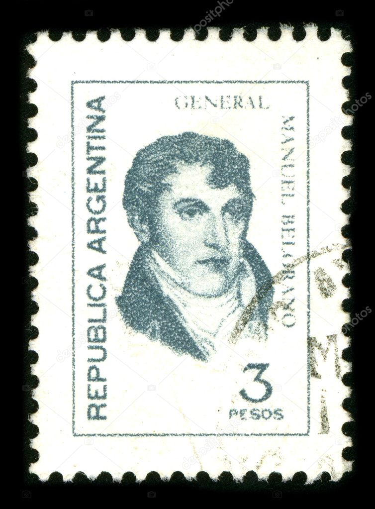 ARGENTINA - CIRCA 1980: A stamp printed in ARGENTINA shows image portrait Manuel Jose Joaquin del Corazon de Jesus Belgrano.  — Stock Photo #5932035
