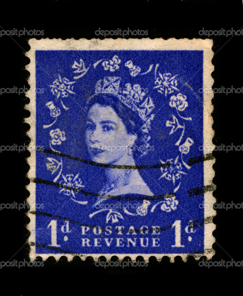 UNITED KINGDOM - CIRCA 1960: An English Used First Class Postage Stamp printed in UNITED KINGDOM showing Portrait of Queen Elizabeth in blue, circa 1960. — Stock Photo #5941389