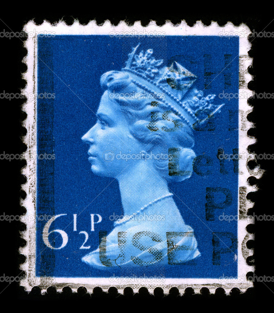 UNITED KINGDOM - CIRCA 1990: An English Used First Class Postage Stamp printed in UNITED KINGDOM showing Portrait of Queen Elizabeth in blue, circa 1990.  Stock Photo #5941401