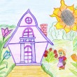 Stock Photo: Child's drawing of house and little man.