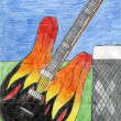 Child's drawing of electric guitar and amplifier. — Stock Photo #5957418