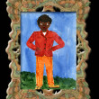 Royalty-Free Stock Photo: Child\'s drawing black boy in an elegant frame.