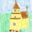 Stock Photo: Child's drawing of yellow church.