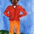 Child's drawing black boy in a red jacket and orange pants. — Stock Photo